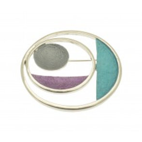 Miss Milly Circle Brooch - Teal + Purple