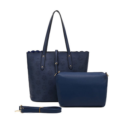 KissKerry Laser Cutout Tote - Navy