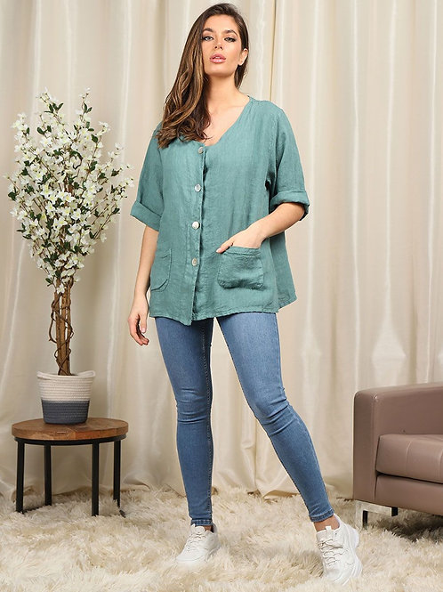 Button Linen Top