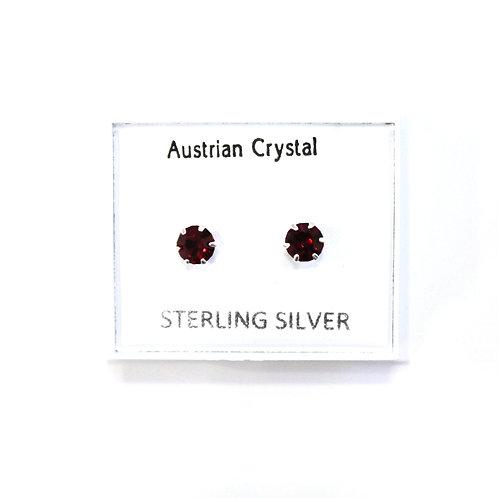 Crystal Studs - Dark Red