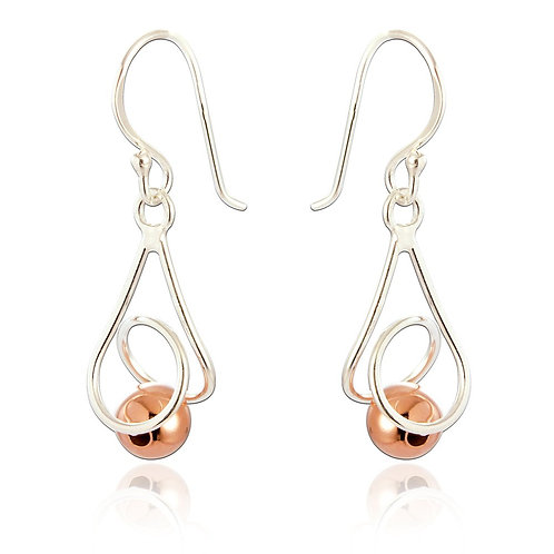 Sterling Silver and Brass Ball Earrings