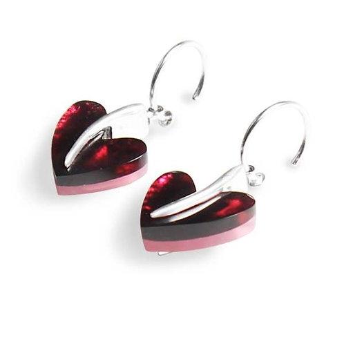 Double Sided Heart Earrings - Pink