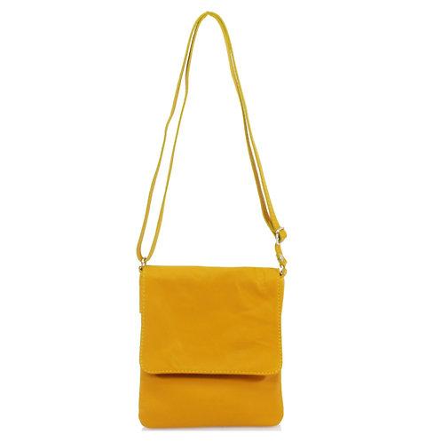 Italian Leather Handbag - Mustard