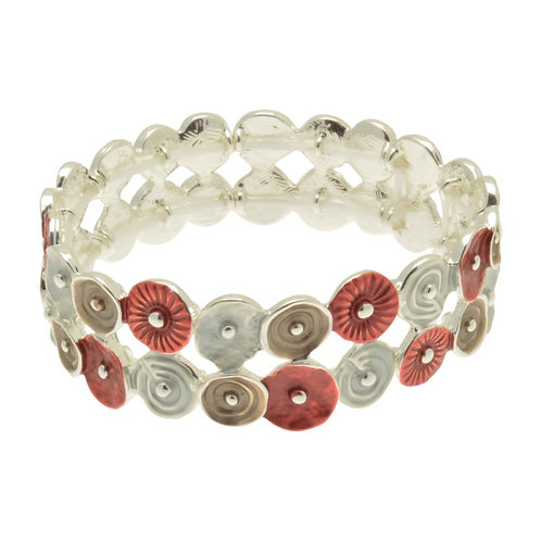 Red, Grey & Mocha Bracelet