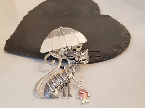 Umbrella cat brooch