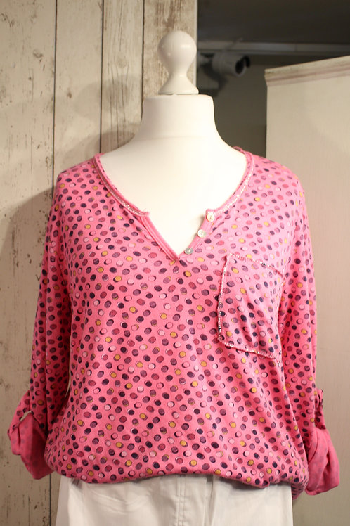 Multi Spotted Top - Hot Pink