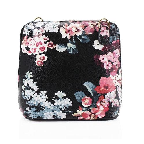 Cross-body Handbag - Black Floral