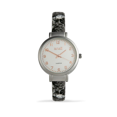 Harper Watch - Grey Snakeskin