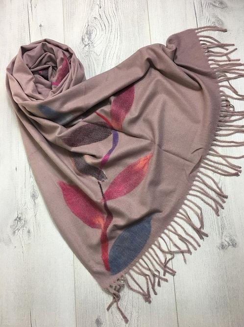 Floral Cashmere Scarf - Dusky Pink