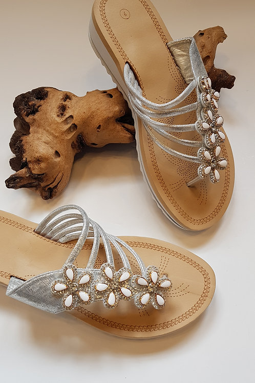 Silver shell sandals