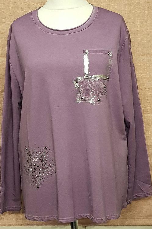 Diamante star purple sweater