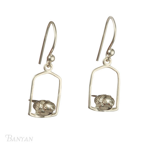 Sterling Silver Bird cage Banyan Earrings