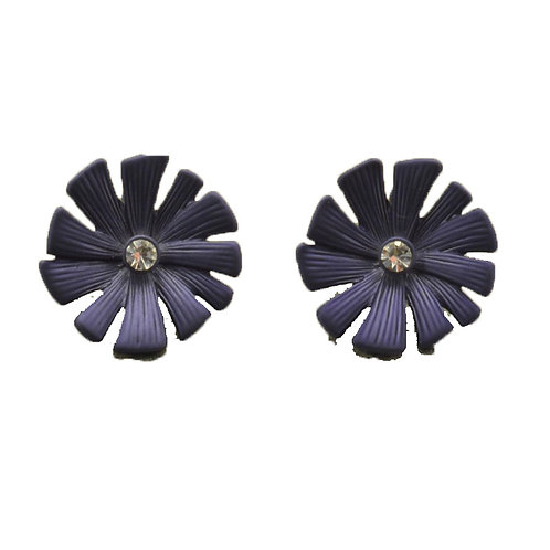 Navy Daisy Earrings
