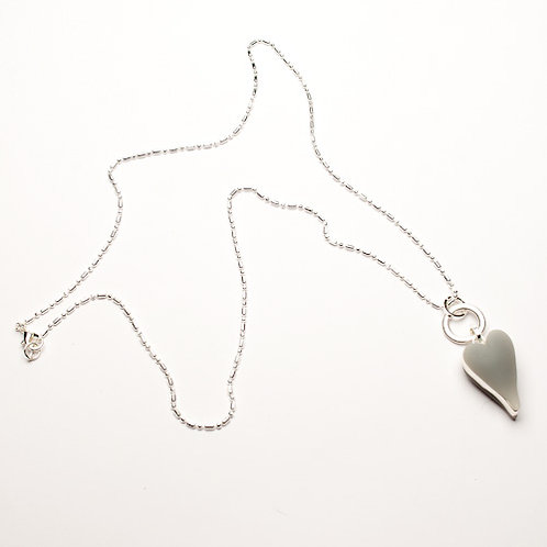 Heart Long Necklace - Grey