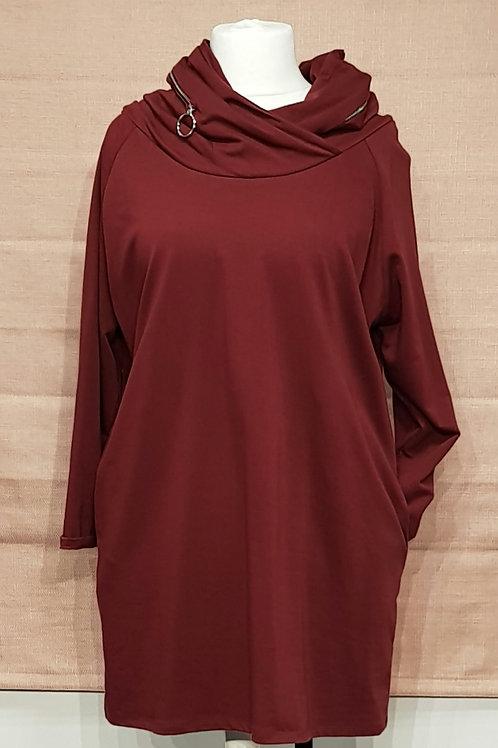 Zipped hooded long top
