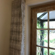 Front door curtain pleated to pattern