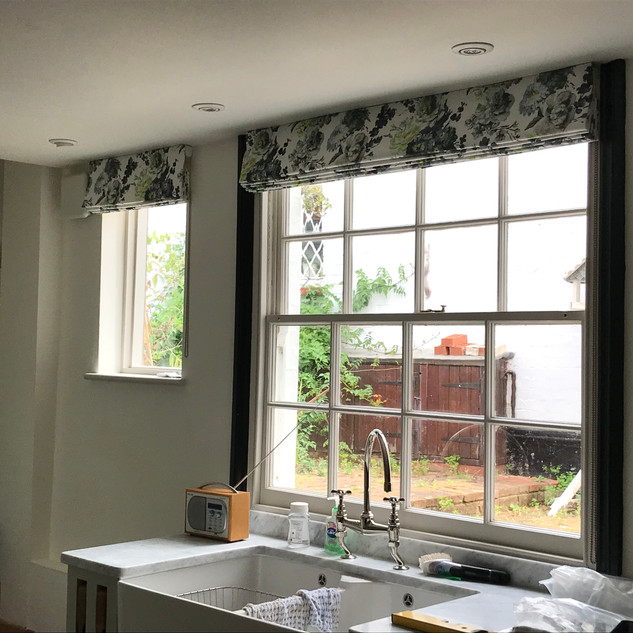 Floral blinds in a traditional kitchen