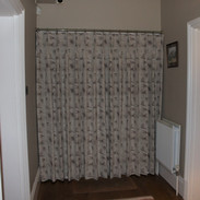 Front door curtain - closed & keeping out the cold