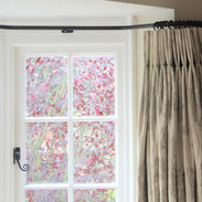 Bay window curtains with double pinch pleat heading