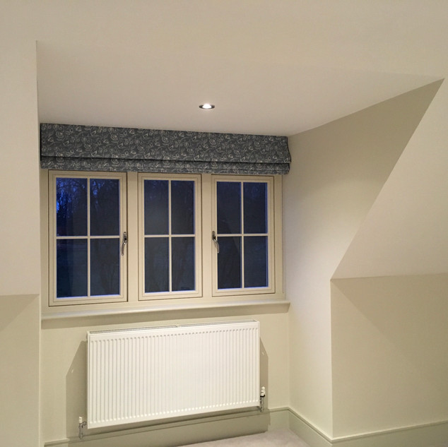 Blackout interlined blind for a bedroom