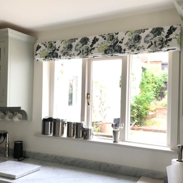 Floral blind in a traditional kitchen