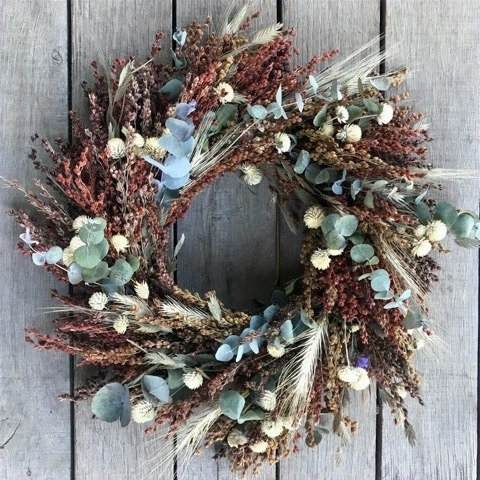 Earth Tone Dried Flower Wreath