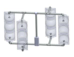SV-4-TB 4 heads, 2 inline, 2 offset, caltrans signal framework