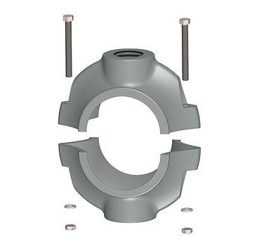 ornamental pole clamp double hub assembly
