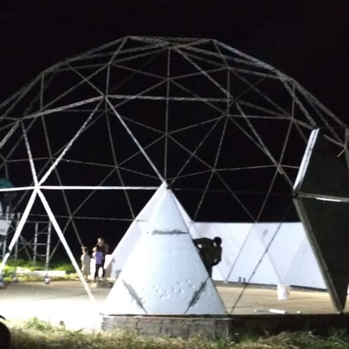 Dome construction at night