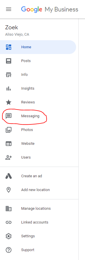 """You can find the """"messaging"""" option in the Google My Business side menu."""