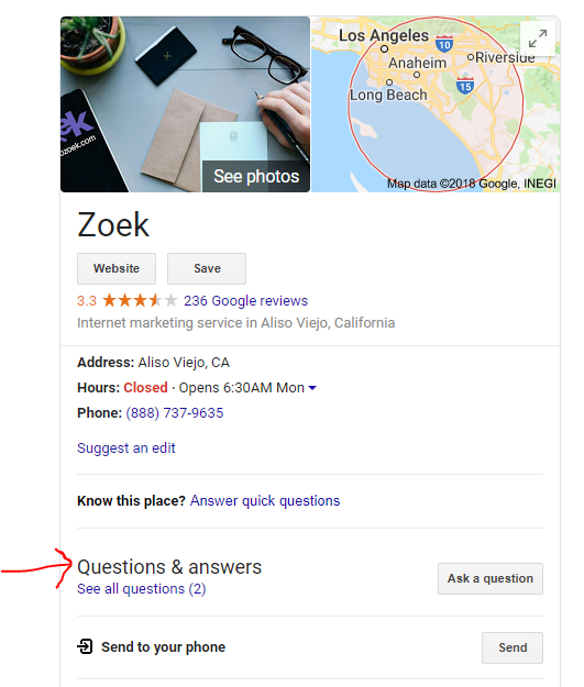 The Questions & Answers section is found in the Knowledge Panel.