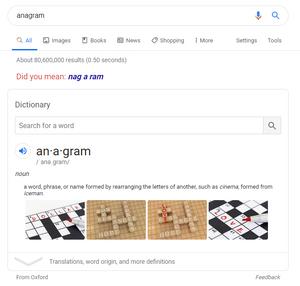 """Google's """"anagram"""" easter egg"""