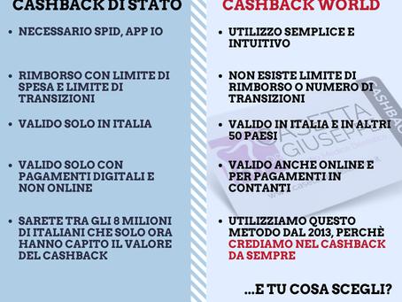 Cashback di Stato vs Cashback World