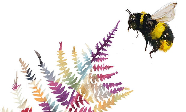 Watercolour painting of a bee hovering near a colourful fern