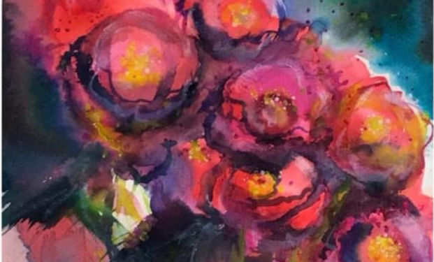 acrylic painting of floweres in bloom, roses and lillies.