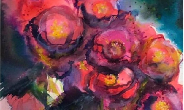 Watercolour painting of red flowersin bloom.