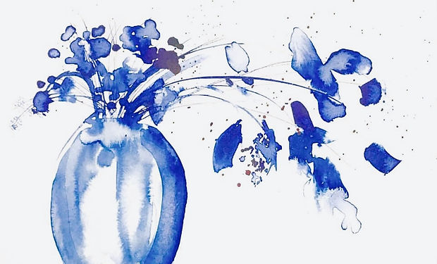 ink or watercolour painting of blue flowersin avase