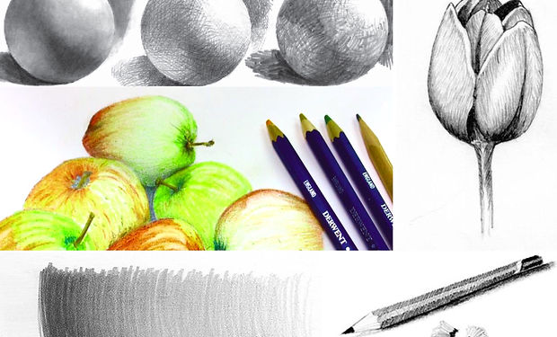 sketch and coloured pencildrawing of fruit and spherical objects to demostrate shading.