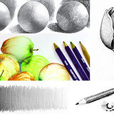 Sketching class, circular objects, and pencil shading.