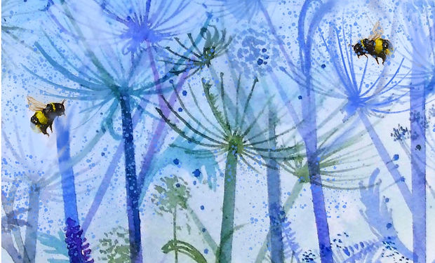watercolour painting of bees in a colourful meadow