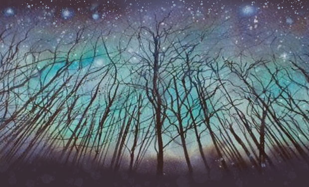 beautoful acrlicand ink painting of an eiree winter forest skyline.