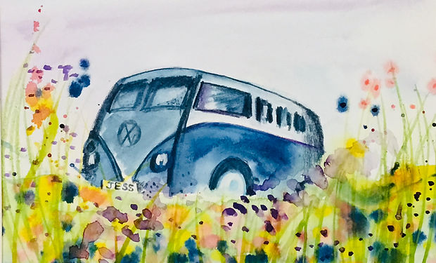watercolur paintin of a camper van in a summer meadow.