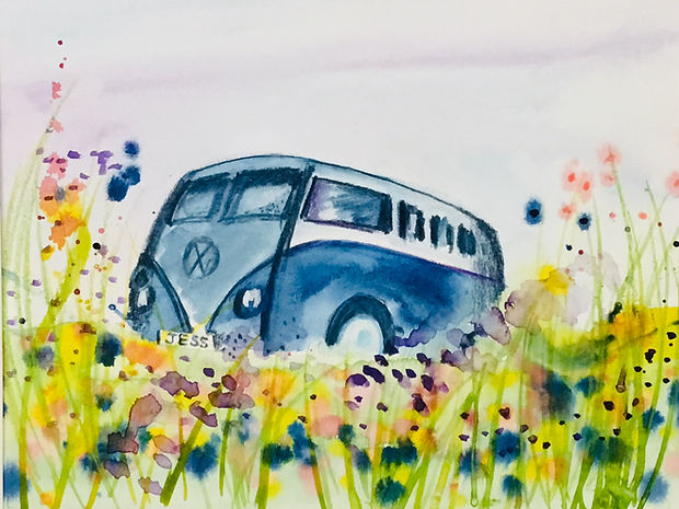 acrylic panting f a camper van in a colourful summer meadow