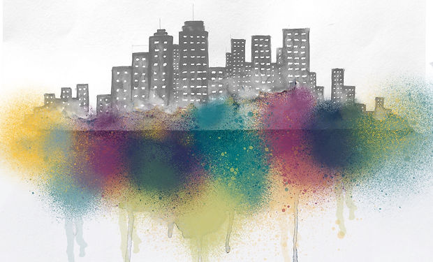 watercolour painting of a cityskyline wit colurful overlay.