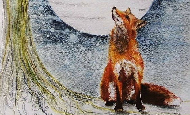 pencil and wtercolour painting of magpie and fox at night time with a big moon.