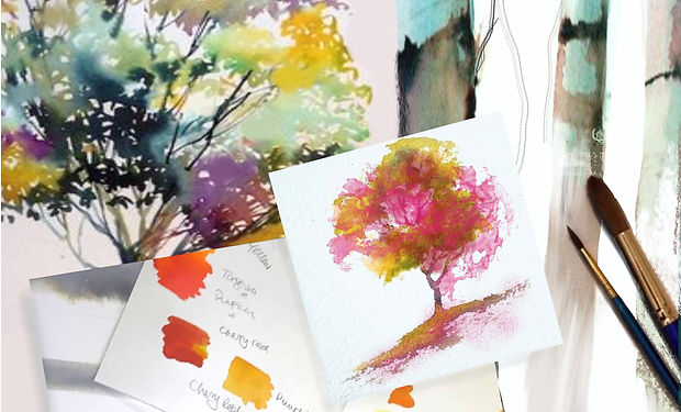 watercolour painting of trees with paintbrushes