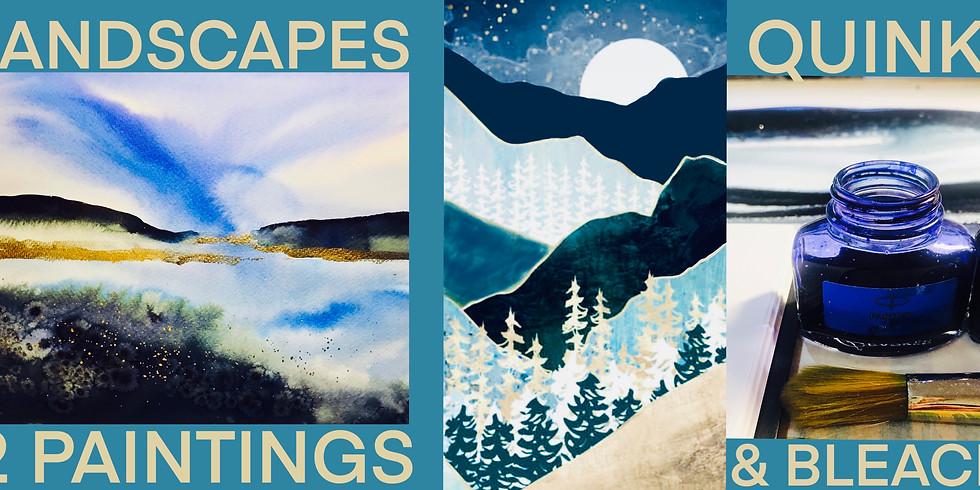 Landscapes Day - Quink, Bleach, Metallics