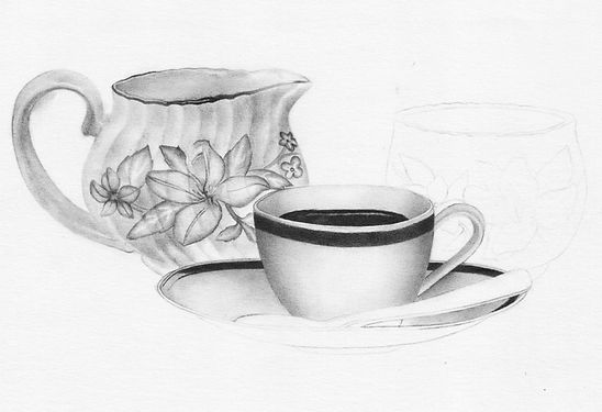Sketch of teapots and tea cups, pencil and shading.