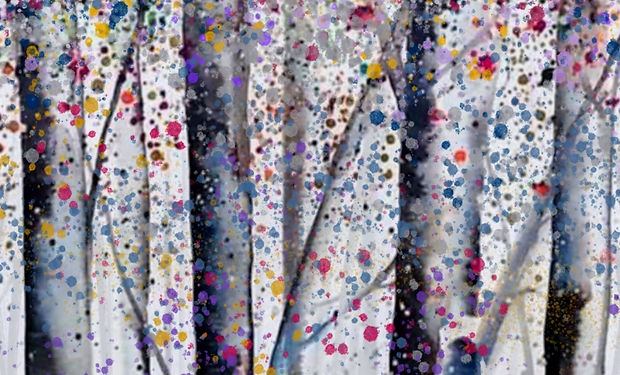 colourful acrylic and ink painting of silver birches