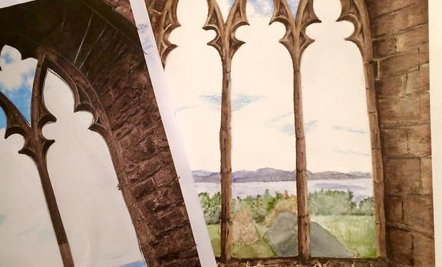 watercolour painting of brickwork and country backgrund